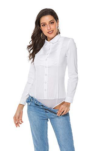 Soojun Womens Essential Long Sleeve Button Down Shirts Bodysuit, (Size 12, 4-White) (Womens Bodysuit Shirt Dress)