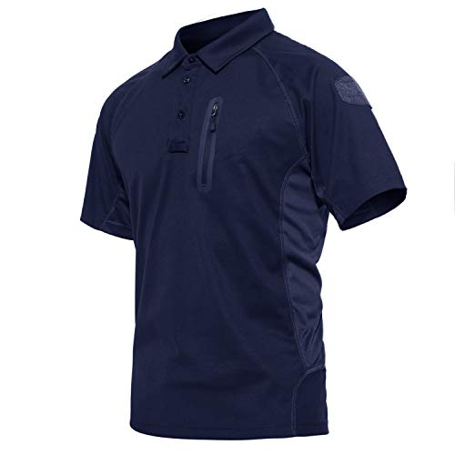 CRYSULLY Men's Military Tactical Sports Outdoor Combat Polo Shirt Turn-Down Collar T-Shirts Tee Tops Navy Blue ()