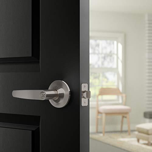 AmazonBasics Straight Door Lever With Lock, Entry, Satin Nickel