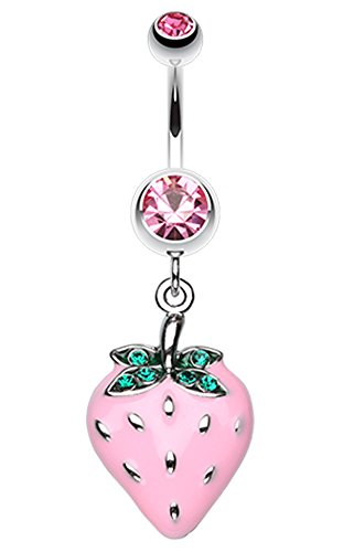 Vibrant Strawberry Dangle Belly Button Ring - 14 GA (1.6mm) - Light Pink - Sold Individually