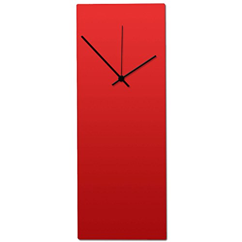 Metal Art Studio Redout Black Clock Contemporary Wall Decor Small Red Face Hands