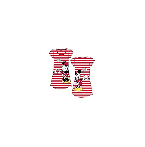 Disney Classic Mickey and Minnie Dorm T Shirt - Front and Back Print- Red Stripes