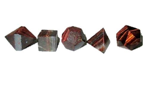 Red Tiger Eye Sacred Geometry Sets 5 Stone Platonic Solid Top Grade Quality Merkaba Star w/Velvet Pouch Image is JUST A Reference