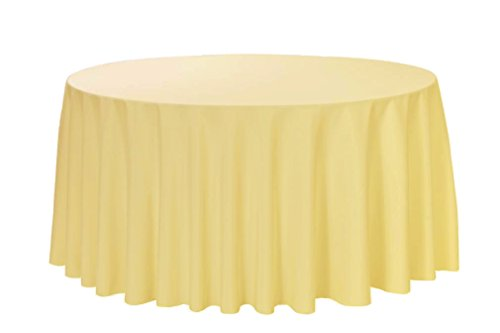"""Your Chair Covers - 120"""" Round Premium Quality Polyester Table Cloth - Pastel Yellow, Circular Table Cover for Wedding, Party, Holiday Dinner and More"""