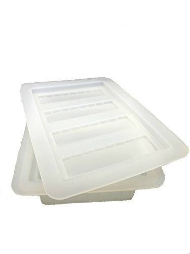 Gourmet Silicone Butter Mold w/Lid For Herbal Butter, Soap Bar, Muffin, Brownie, Cornbread, Cheesecake. FDA Approved (Clear) ()