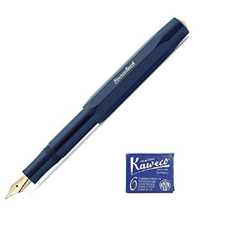 Kaweco Classic Sport Fine Nib Fountain Pen + Pack of 6 Blue Ink Cartridges Set (Navy)