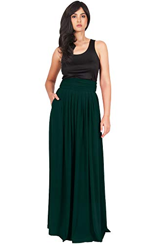 KOH KOH Plus Size Womens Womens Long Flowy Cute Modest High Waist Floor Length Pockets Casual Semi Formal Vintage Slimming Work Office Workwear Maxi Skirt Skirts, Emerald Green 2XL ()