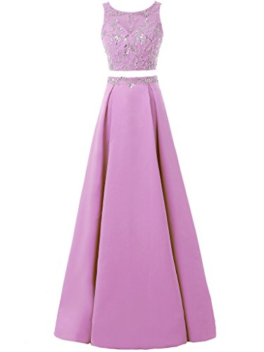 Solovedress Gown Satin Dress Women's Long Evening Lilac Bridesmaids Pieces Party Prom Beaded Two Dress Homecoming rr4nZw