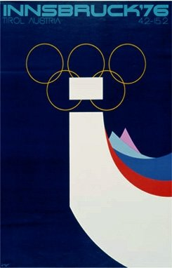 Vintage Ski World Innsbruck, Austria 1976 XII Olympic Winter Games Official Poster, Image Size 13 x 18 inches