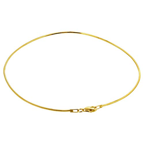 Gem Avenue 14k Yellow Gold over Sterling Silver Vermeil Snake Foot Chain 11 Inch Anklet Ankle Bracelets for women