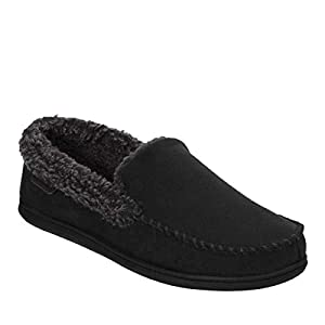 Dearfoams Men's Microsuede Moc Whipstitch Mem Foam Slipper