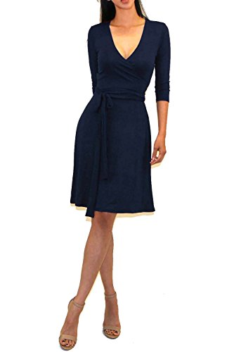 Vivicastle Women's Printed V-Neck 3/4 Sleeve Faux Wrap Waist Tie Midi Dress (DD65, Navy, Large) (Dress Printed Tie)