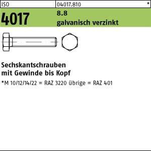 100 Sechskantschrauben ISO 4017 8.8 verzinkt M6x16
