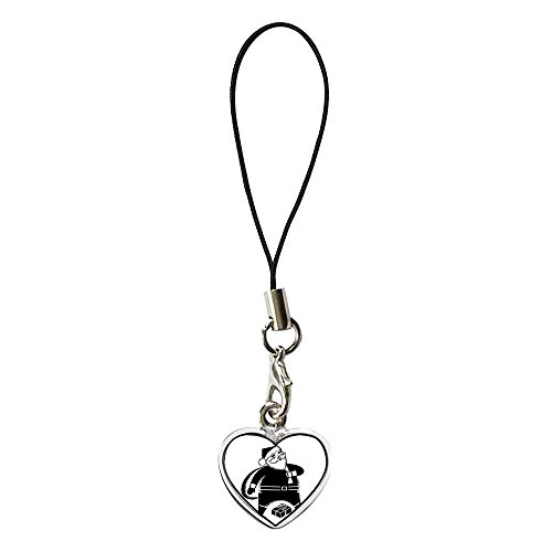 GiftJewelryShop Silver Plated Happy Santa Claus Flower Photo Dangle Heart Strap hanging Chain for Phone Cell Phone (Santa Dangle)