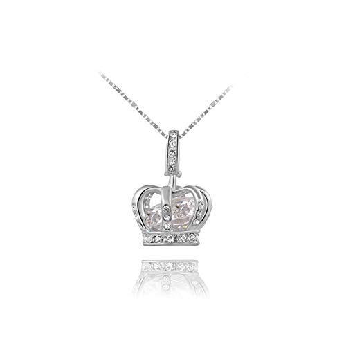 (AISHIPING Crown Cubic Zirconia Necklaces Pendants Silver Rose Gold Color Chain Fashion)