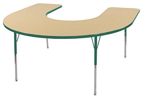 ECR4Kids 60'' x 66'' Horseshoe Activity School Table, Standard Legs w/Swivel Glides, Adjustable Height 19-30 inch (Maple/Green) by ECR4Kids