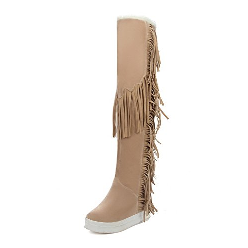 AgooLar Women's Pull-on Round Closed Toe Kitten-Heels Imitated Suede High-top Boots Beige