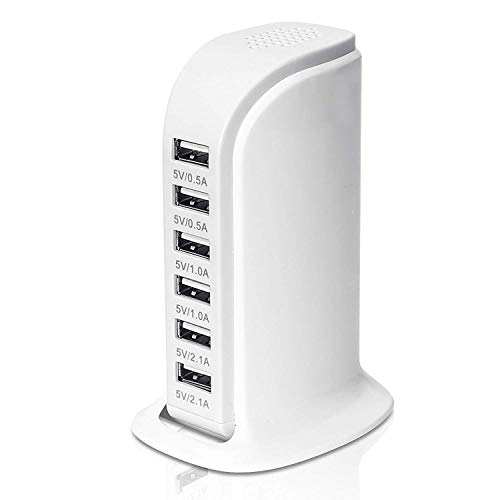 - USB Tower Power Adapter 6-Port Smart IC Tech Charging Station with Quick Charge 2.1 for Phone, Tablets, Kindle, and More (White)