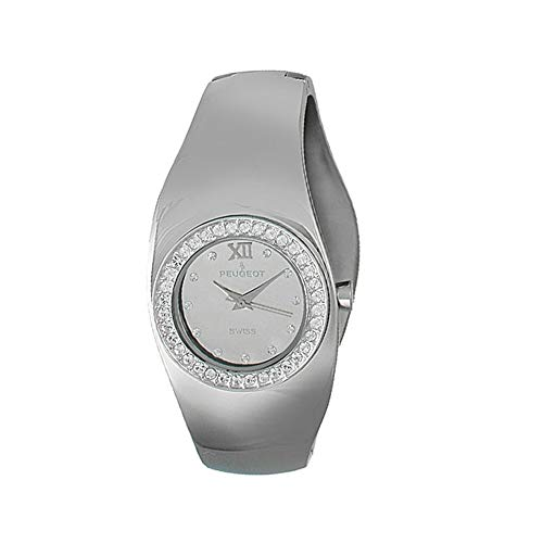 (Peugeot Women's Stainless Steel Swiss Movement Cuff Watch with Swarovski Crystal Accented Bezel)
