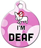 Cute Pink Deaf Dog Pet ID Tag for Dogs and Cats - Dog Tag Art