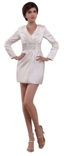 Orifashion Elegant White Long Sleeves V neck Short Dress WDSORJ110, US Size 2