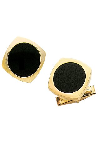 14K Yellow Gold and Black Onyx Cufflinks-89268 14k Gold Onyx Cufflinks