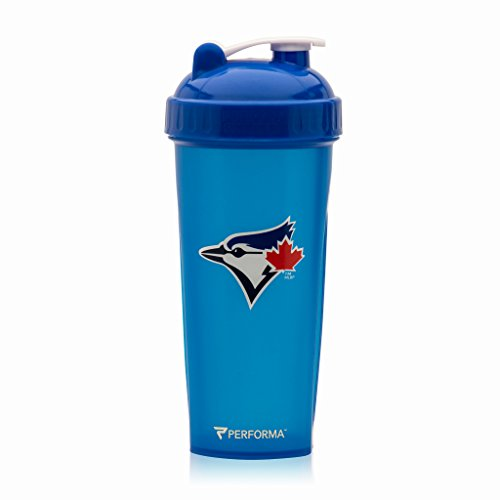 (PerfectShaker Performa - MLB Collection, Best Leak Free Bottle with Actionrod Mixing Technology for Your Sports & Fitness Needs! Dishwasher and Shatter Proof (Blue Jays))