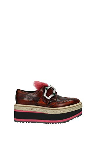 Prada Brown 1D905H UK Women Leather Monkstrap Lace up SqSFvz