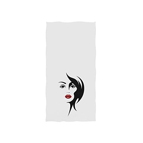 Naanle Black Fashion Woman Face Silhouette Pretty Girl with Red Lip On White Soft Bath Towel Absorbent Hand Towels Multipurpose for Bathroom Hotel Gym and Spa 30