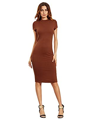 MakeMeChic Women's Short Sleeve Classy Solid Stretchy Wear To Work Pencil Dress