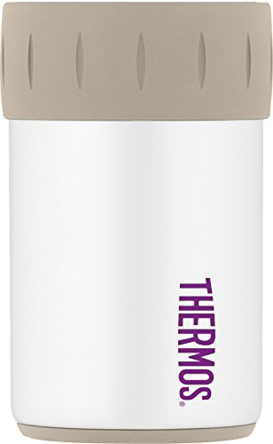 White Label Beer - Thermos Stainless Steel Beverage Can Insulator for 12 Ounce Can, Matte White
