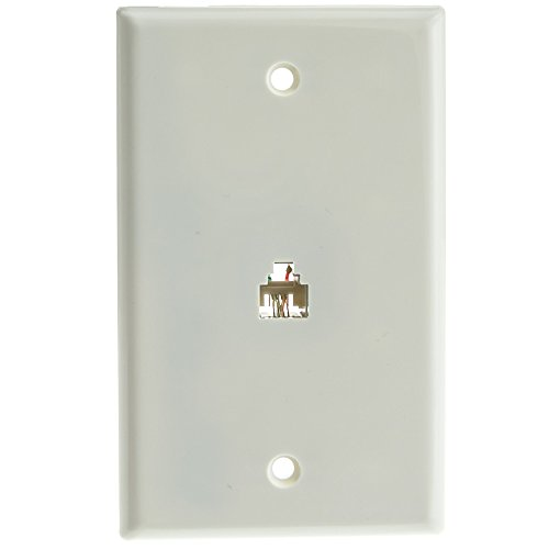 Jack Gange Plate Almond (2 Line Telephone Wall Plate, White, RJ11, 4 Conductor)