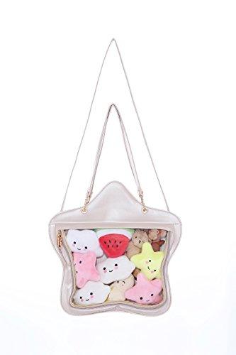 Clear Candy Leather Handbag Kawaii Purse Transparent Backpacks Star Crossbody Bags Lolita Ita Bag Pearl White