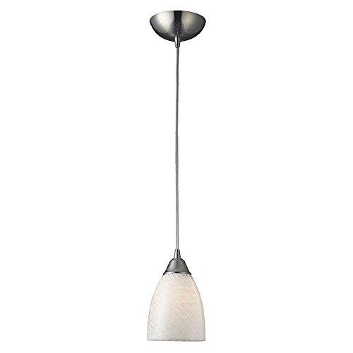 (Titan Lighting Arco Baleno 1-Light Satin Nickel Pendant with White Swirl Glass Shade)