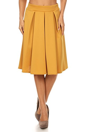 J2 LOVE Made in USA Pleated A Line Midi Skirt (XS-5X) by Cemi Ceri