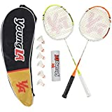 YoungLA Badminton Rackets for Adults with 6 Pack Shuttlecocks and Carrying Bag