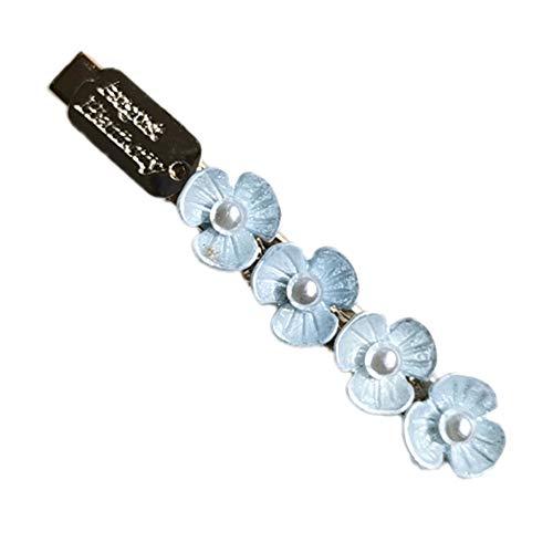 Fashion Women Flower Shape Faux Pearl Barrette Hairpin Slide Hair Clip Headwear - Blue
