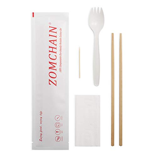 Biodegradable Cutlery/Utensil Packs-10 Packs|Eco-Friendly| Contains: Bamboo Chopsticks, Plant Starch Spork, Napkin, Toothpick-Individually Wrapped, Great for Picnic,BBQ, Party (Box of 10)