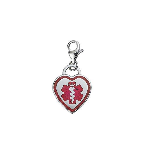 Divoti Custom Engraved Premier 316L Medical Alert ID Heart Charm w/ Lobster Clasp-TP Red ()
