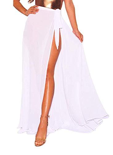 - LIENRIDY Women's Bikini Sarong Cover up Sheer Wrap Beach Maxi Skirt Swimwear White Long