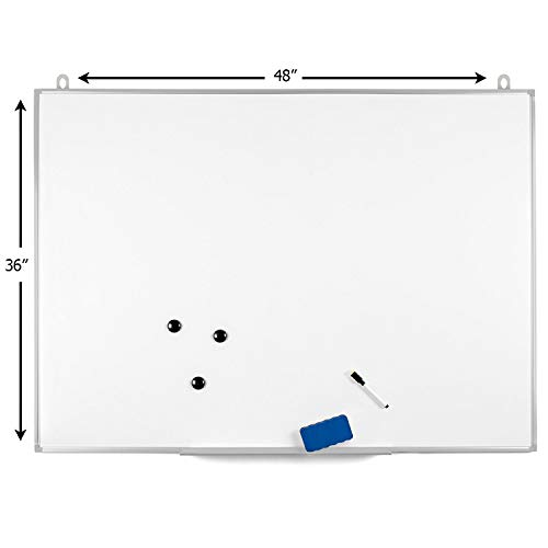 OfficePro Ultra-Slim, 36 x 48 Inch Lightweight Magnetic Dry Erase Board & Accessories (Includes Whiteboard Pen & Pen Tray, 3 x Magnets & Eraser) by OfficePro (Image #2)