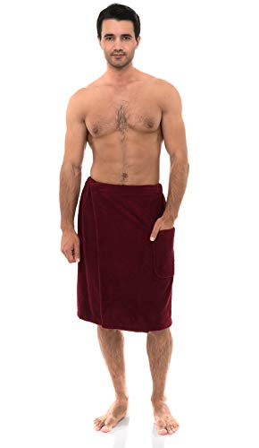 - TowelSelections Men's Wrap, Shower & Bath Terry Towel with Snaps Large/XX-Large Ruby Wine