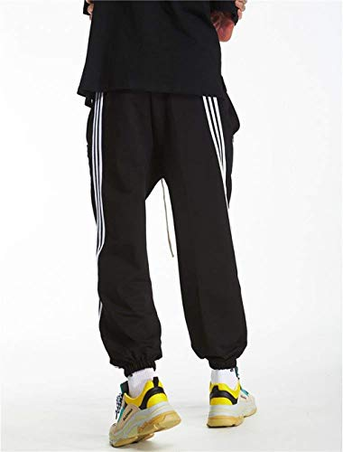 Black Rayas B Elásticos Ropa Retro Hombres Para Adelina Pantalones Deportivos Sueltas white Con Zx8AqvPf