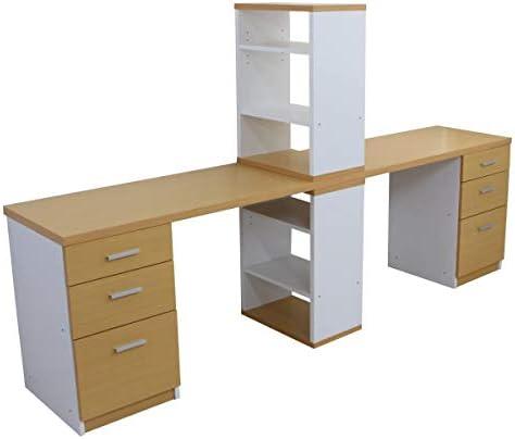 ツインデスク 学習机 勉強机 セット ハイタイプ 収納 木製 ユニットデスク 書棚 3段チェストナチュラル&ホワイト CPB027-SET2-NAWH