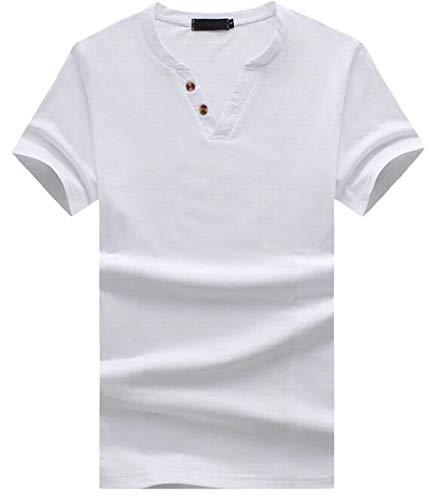 M&S&W Mens Basic V-Neck Solid Color Slim Fit Cotton T-Shirt White S ()