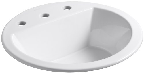 (Kohler K-2714-8-0 vitreous China Drop-In Round Bathroom Sink, 21 x 21 x 10 inches, White)