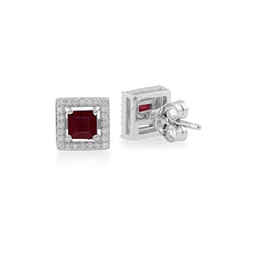 Gemondo Rubis Boucles D'oreilles, 9ct Or Blanc 0.64ct Rubis & Diamant Carré Clous