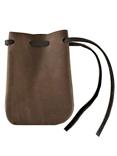 Leather Drawstring Pouch/Coin Bag/Medieval Style Reenactment Pouch--SM DK BR