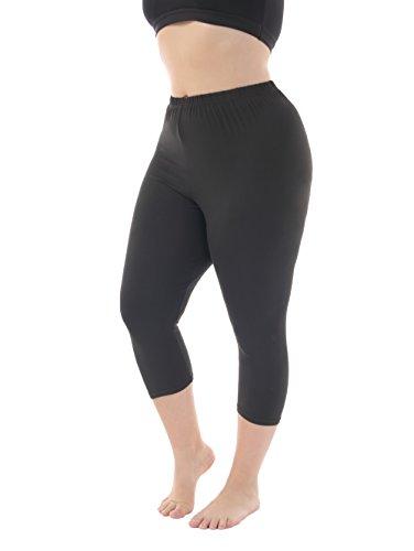 Women's Modal Plus Size Basic Solid Color Capri Leggings Black XL (Capri Clothes)