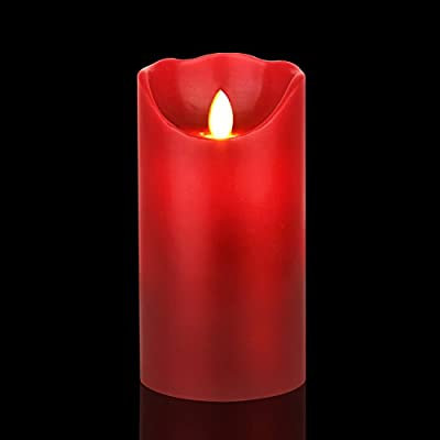 """Vinkor Flameless Candles 3.25""""x6"""" Burgundy Color Dripless Real Wax Pillars LED Candles with 10-key Remote Control 2/4/6/8 Hours Timer"""